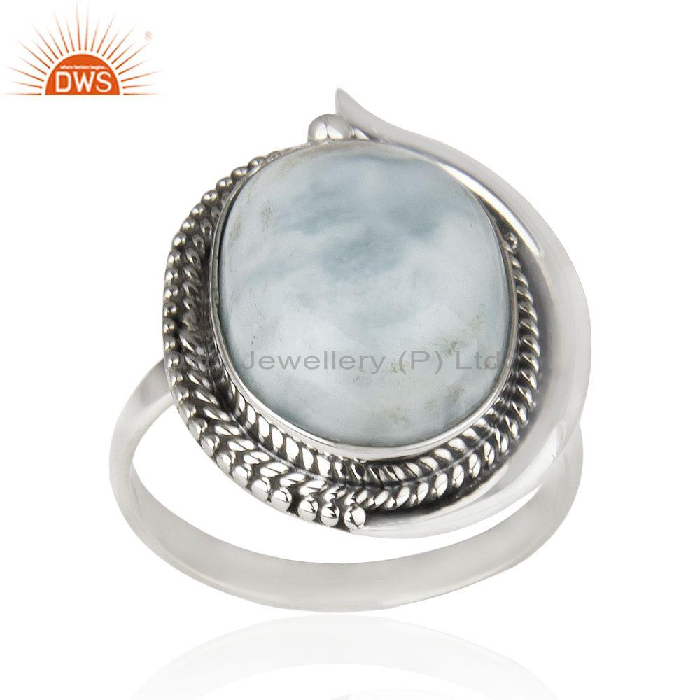 Larimar Gemstone 92.5 Sterling Silver Cocktail Ring Jewelry Wholesale