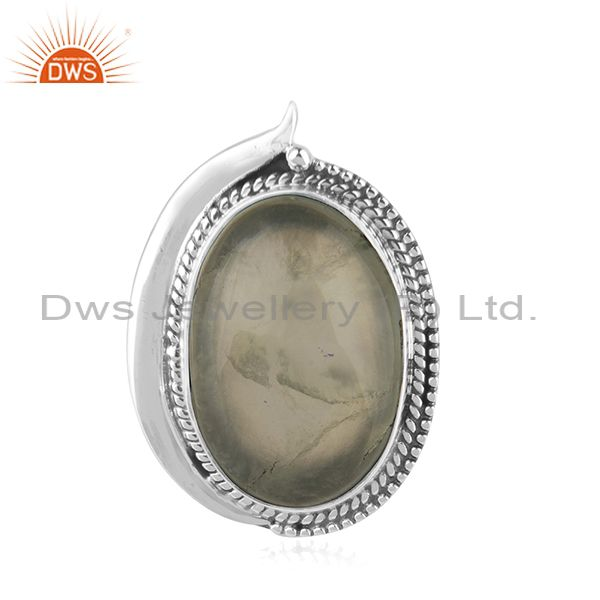 Prehnite 925 Sterling Silver Oxidized Ring Jewelry Supplier