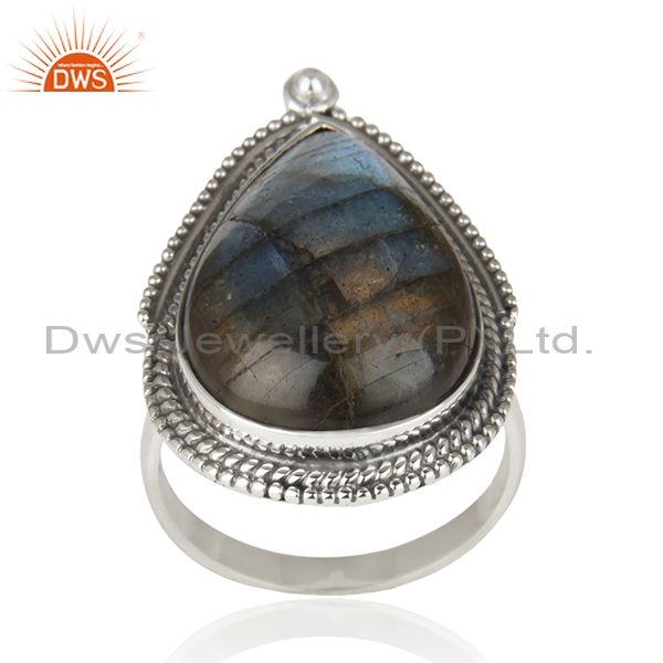 Labradorite Gemstone Oxidized 92.5 Sterling Silver Cocktail Ring Wholesaler