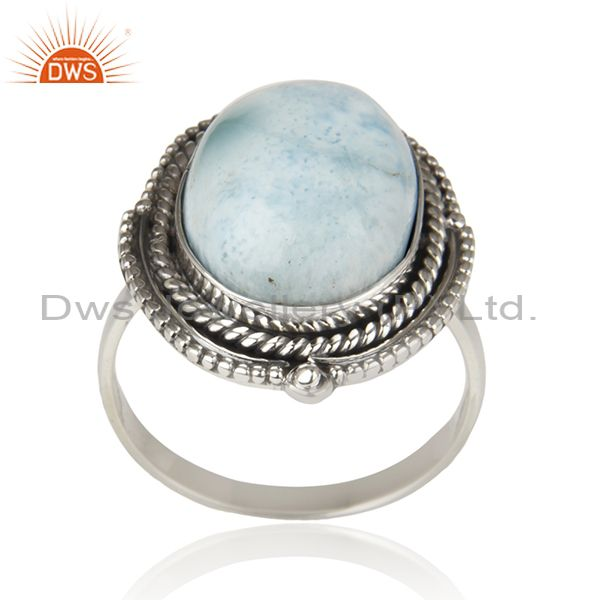 Larimar Gemstone Oxidized 925 Sterling Silver Statement Ring Suppliers Jaipur