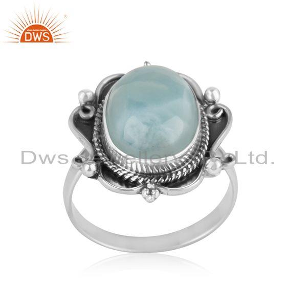 Natural Larimar Gemstone Oxidized Sterling Silver Designer Ring Suppliers Jaipur