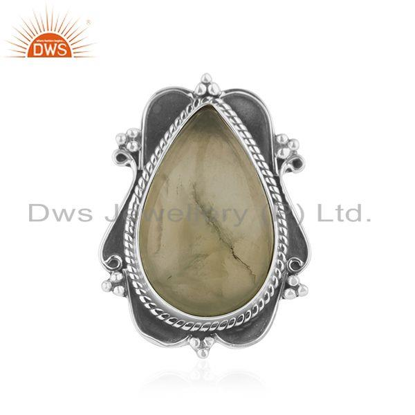 New Arrival Prehnite Gemstone Oxidized Silver Ring Jewelry