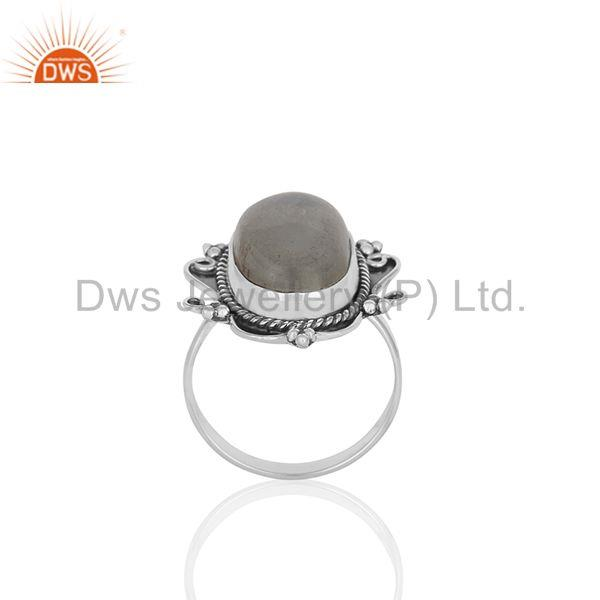 Rainbow Moonstone Oxidized Sterling 92.5 Silver Ring Manufacturer from India