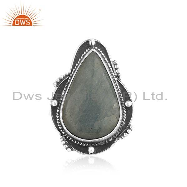 Aquamarine Gemstone Oxidized Silver Ring Jewelry