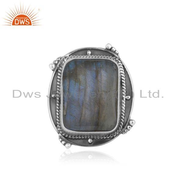 Natural Labradorite Gemstone Oxidized Sterling Silver Ring Manufacturer