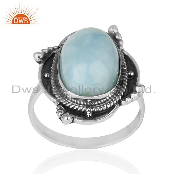 Designer Sterling Silver Oxidized Larimar Gemstone Statement Ring Supplier INDIA