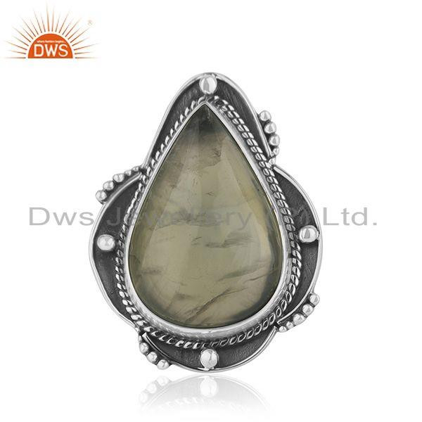 Prehnite Gemstone Designer Oxidized Sterling Silver Ring Jewelry