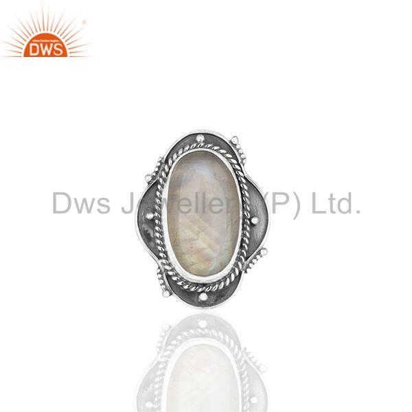 Oxidized 925 Sterling Silver Moonstone Customized Ring Jewelry Manufacturer