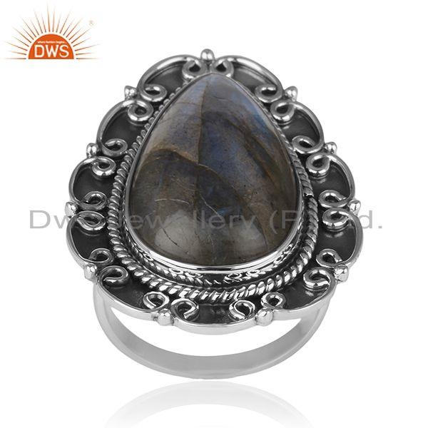 Designer Oxidized 92.5 Sterling Silver Labradorite Ring Wholesaler of jewelry