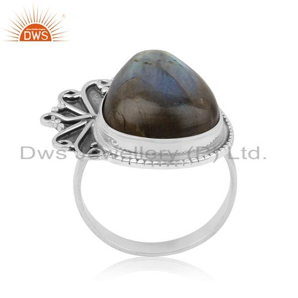 925 Sterling Silver New Designer Labradorite Gemstone Ring Manufacturer India