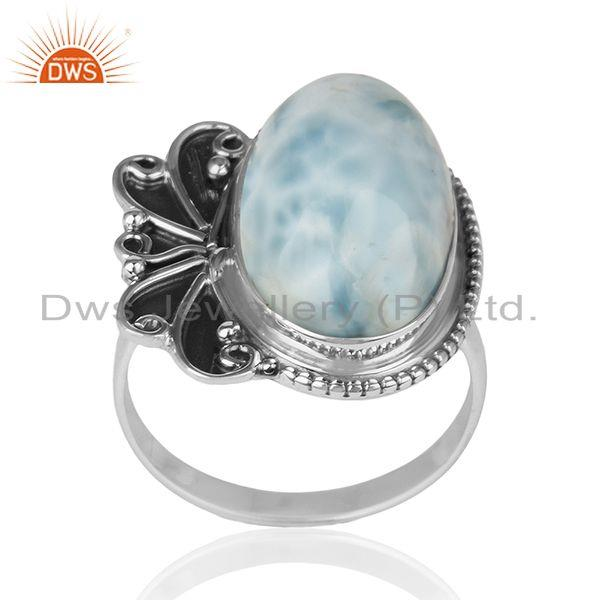 Natural Larimar Gemstone Oxidized 925 Silver Cocktail Ring Manufacturer India