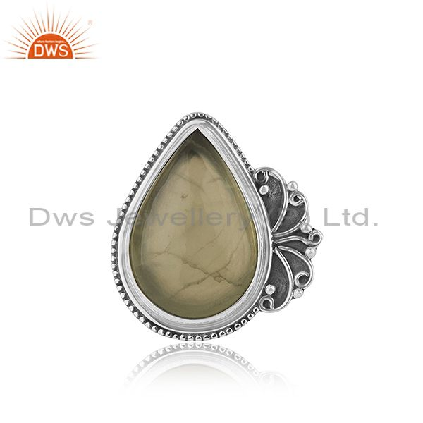 Designer Oxidized Sterling Silver Prehnite Gemstone Ring Jewelry