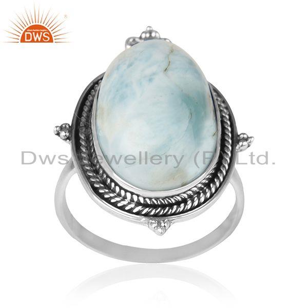 Natural Larimar Gemstone 925 Sterling Silver Promise Ring Manufacturer India