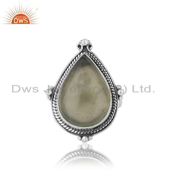 Prehnite Gemstone Oxidized Silver Designer Ring Jewelry