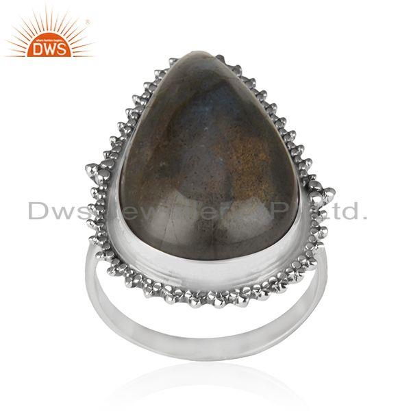 Labradorite Gemstone Oxidized 925 Silver Designer Ring Manufacturer of Jewelry