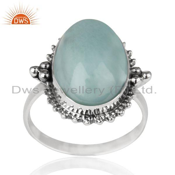 Larimar Gemstone 92.5 Sterling Silver Designer Ring Manufacturer