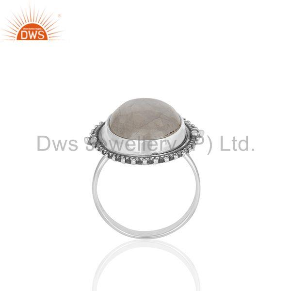 Bezel Set Rainbow Moonstone Oxidized Solid 925 Silver Cocktail Rings Supplier