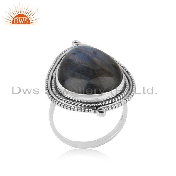 Labradorite Gemstone 92.5 Sterling Silver Handcrafted Ring Manufacturer India