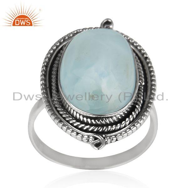 Larimar Gemstone Oxidized 925 Sterling Silver Cocktail Ring Manufacturer India