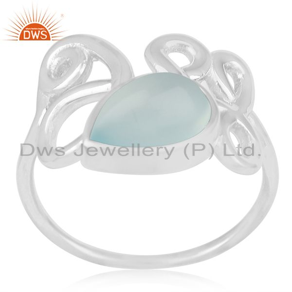 New Arrival Aqua Chalcedony Gemstone 925 Silver Ring Manufacturers