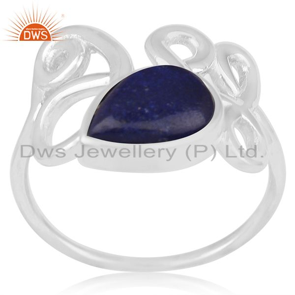 Bezel Set Lapis Lazuli Gemstone Sterling Silver Ring Wholesale