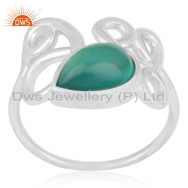 White Rhodium Plated 925 Silver Onyx Gemstone Ring Manufacturer