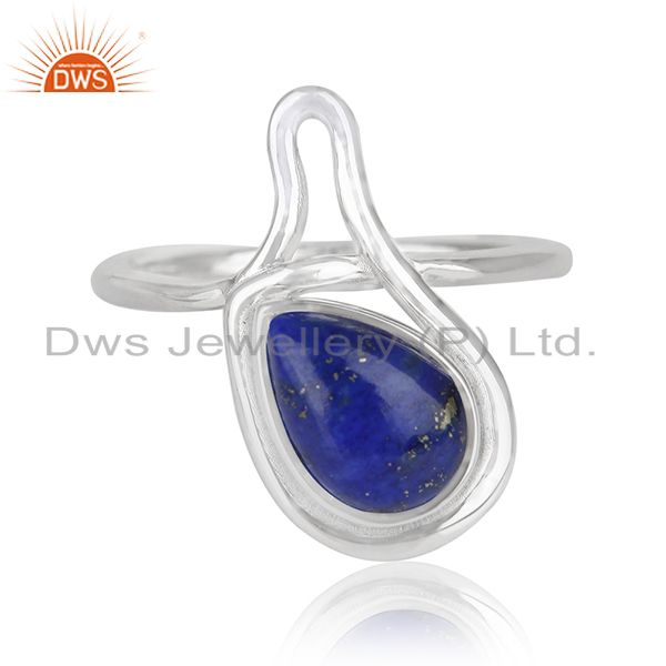 Lapis Lazuli Gemstone White Rhodium Plated 925 Silver Ring Jewelry