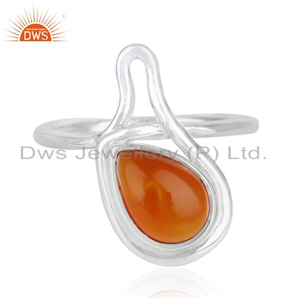 925 Silver White Rhodium Plated Chalcedony Gemstone Ring Wholesale