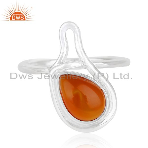 Red Onyx Gemstone White Rhodium Plated 925 Silver Ring Suppliers