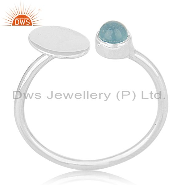 New Arrival 925 Silver Aqua Chalcedony Gemstone Ring Wholesale