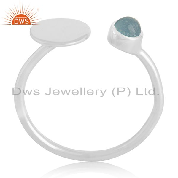 Adjustable 92.5 Silver Blue Gemstone New Designer Ring Manufacturer Jaipur