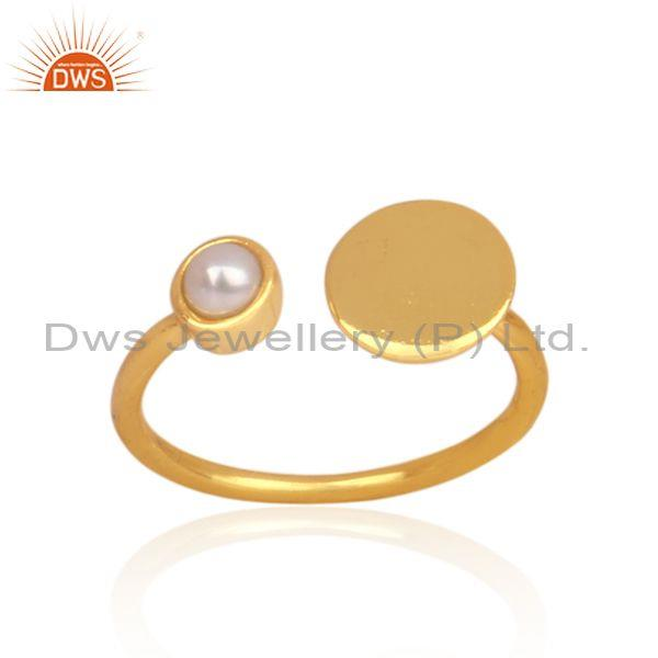 Pearl set gold on 925 silver handmade open designer ring