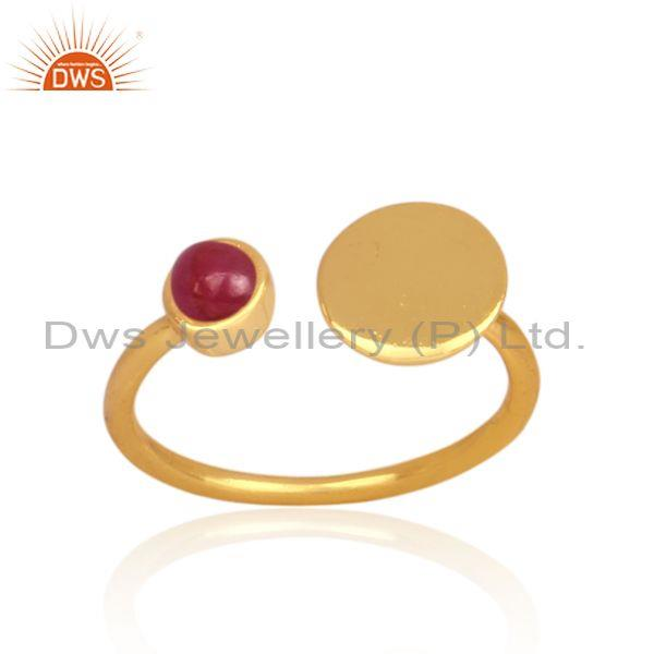 Ruby set gold on sterling silver handmade open designer ring