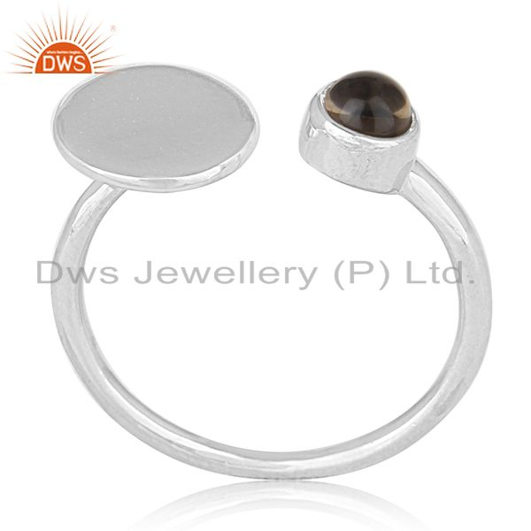 Private Label 925 Sterling Silver Gemstone Adjustable Ring Manufacturer India