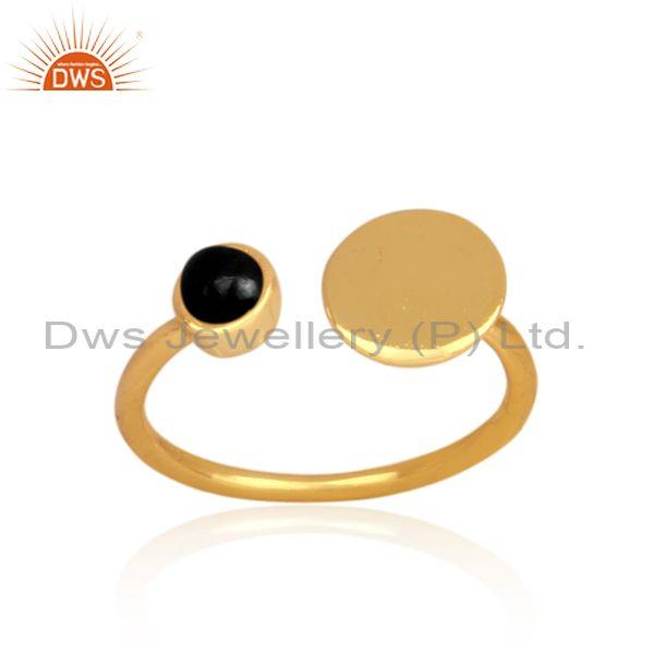 Black Onyx Set Gold On Silver Handmade Open Designer Ring