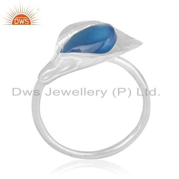 Blue Chalcedony Gemstone Floral Design Sterling Silver Custom Ring Wholesale