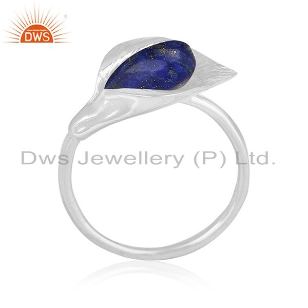 Floral Design 925 Silver Lapis Lazuli Gemstone Custom Ring Manufacturer