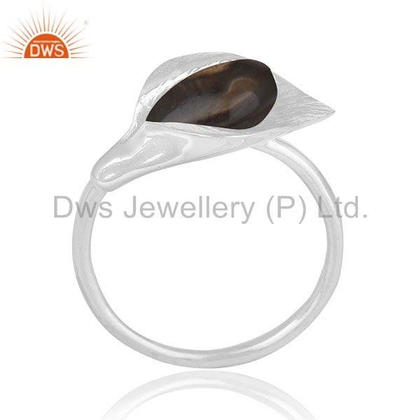 Smoky Quartz Floral Design 925 Silver Private Label Ring Jewelry Manufacturer