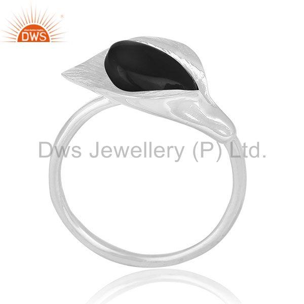 Black Onyx Gemstone 925 Silver Floral Design Ring Wholesale Suppliers