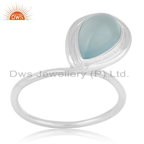 Designer Sterling Silver Blue Chalcedony Gemstone Girls Ring Manufacturer India