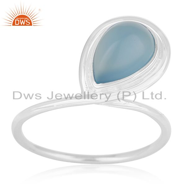 Blue Chalcedony Gemstone Sterling Silver Designer Ring Jewerly Wholesale