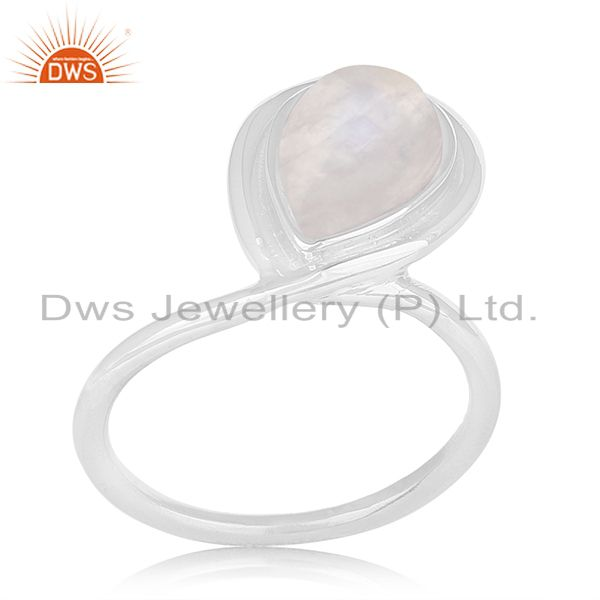 Natural Rainbow Moonstone 925 Sterling Silver Handmade Ring Manufacturer