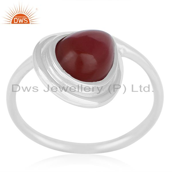 Red Onyx Gemstone Sterling Silver Ring Private Label Jewelry For Brands
