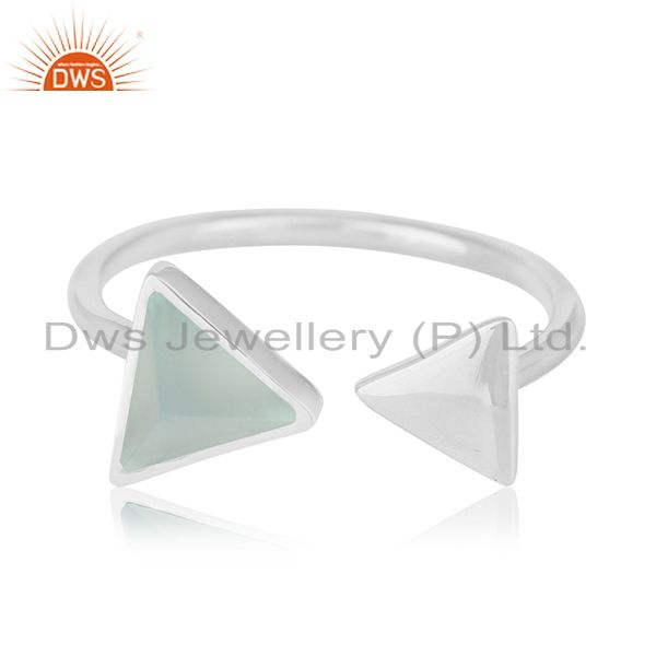 Multi Triangle Adjustable 925 Silver Gemstone Ring Jewelry For Women
