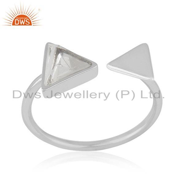 Crystal Quartz Genuine 925 Sterling Silver Gemstone Adjustable Ring Manufacturer