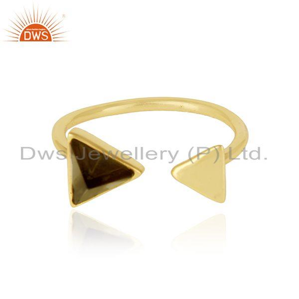 Pyramid adjustable ring in yellow gold on silver 925 and smoky