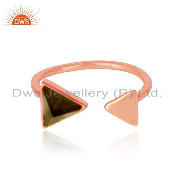 Pyramid adjustable ring in rose gold on silver 925 and smoky