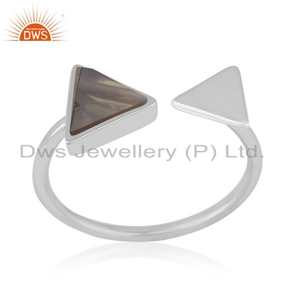 Triangle Shape Smoky Quartz 925 Sterling Silver Gemstone Adjustable Ring Jewelry
