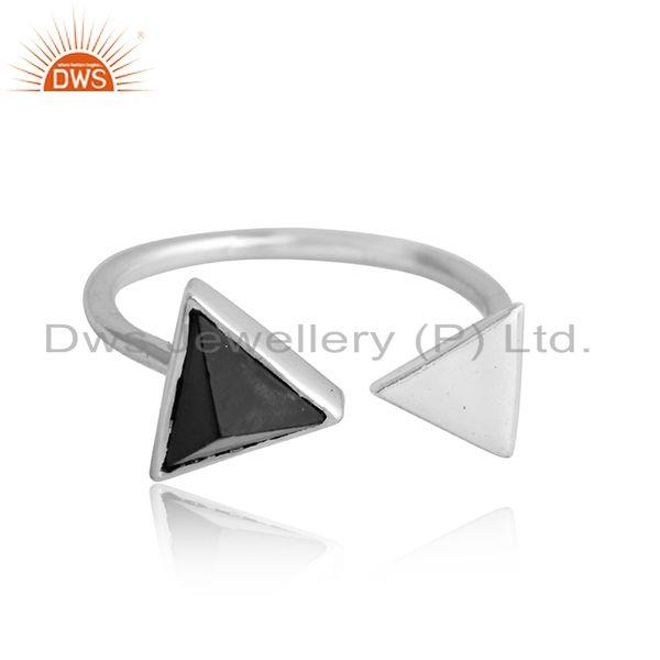 Triangle design 925 fine silver black onyx gemstone ring jewelry