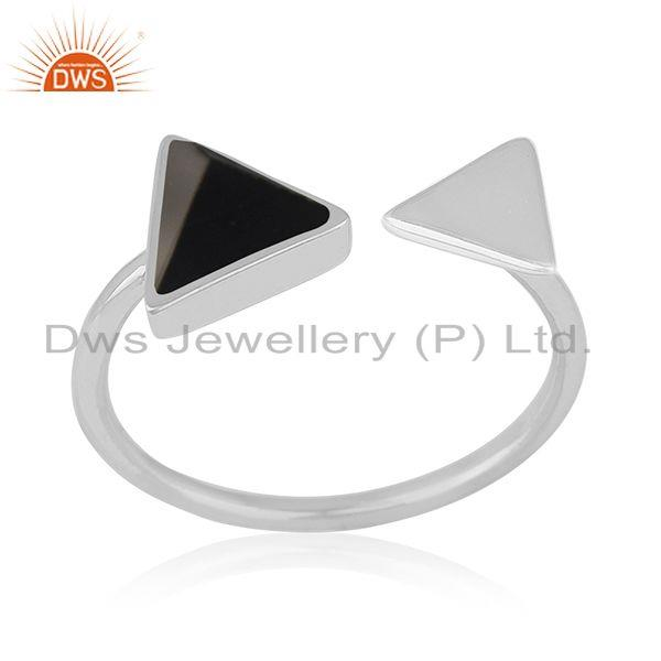 Pyramid Shape Black Onyx Gemstone Adjustable Silver Ring Wholesale Supplier